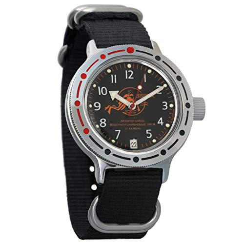 Vostok Amphibian automático para hombre reloj de pulsera automático automático de cuerda automática de buceador militar anfibia caso reloj #420380