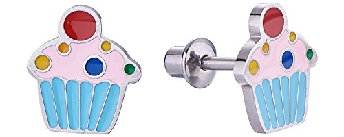 Screw Back Sprinkle Cupcake Stud Earrings for Kids, Toddler, Little Girls with Surgical Steel Post for Ultra Sensitive Ears with Secure Safety Screwback