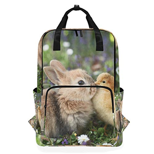 School Backpack Best Friends Bunny Rabbit Easter Chick Large Capacity Bag for Travel Outdoor Sports Boys Girls Teenage