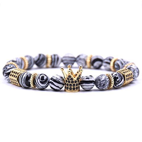 LLXXYY Stein Armband,Naturstein Armband Zirkonia König Krone Zahnrad-Distanzscheibe Fashion Bangle 8 Mm Schwarz Weiße Streifen Perlen Männer Schmuck Geschenke Paar Accessiors
