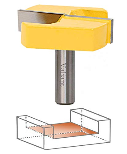 Valiant Bottom Cleaning Router Bit 2-1/4 Inch 1/2 Inch Shank, For CNC or Table - Carbide-Tipped, Surface Planing, Flattening, Grinding - Woodworking Milling Cutter, Cabinet Doors, Drawer - Solid Steel