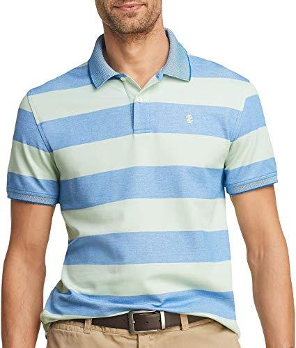IZOD Men's Advantage Performance Short Sleeve Stripe Polo, Meadow, XX-Large