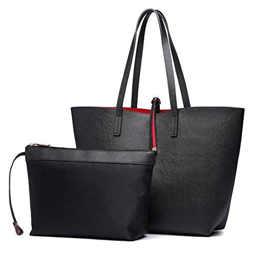 Miss Lulu Faschionable Tote Bag Shopper Schultertasche Umhängetasche PU-Leder Praktisch (Schwarz)