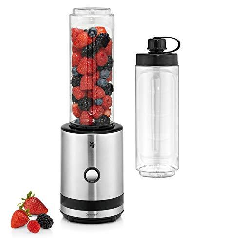 WMF KÜCHENminis Smoothie-to-go, Mini Standmixer mit zwei Mix-/Trinkbehältern 0,6l, 300 W, cromargan matt/silber
