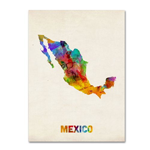 Mexico Watercolor Map Artwork by Michael Tompsett, 18 by 24-Inch Canvas Wall Art