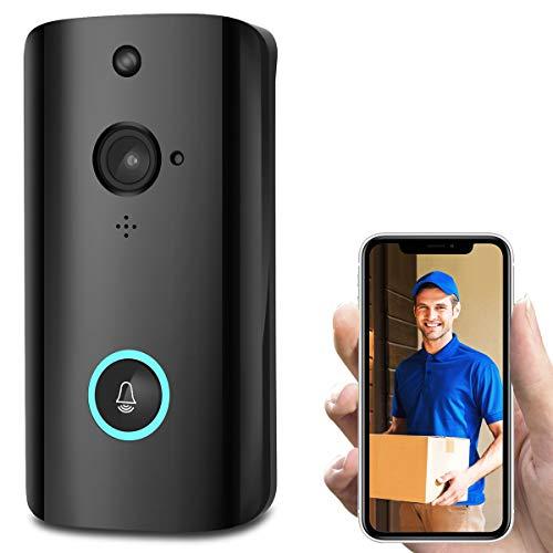ZHBD Cámara De Timbre De Video Inteligente WiFi, Timbre De Seguridad Inalámbrico HD De 720P HD con Campanilla Interior, Audio De 2 Vías, Lente Súper Grande De 166 °, Detección De Movimiento