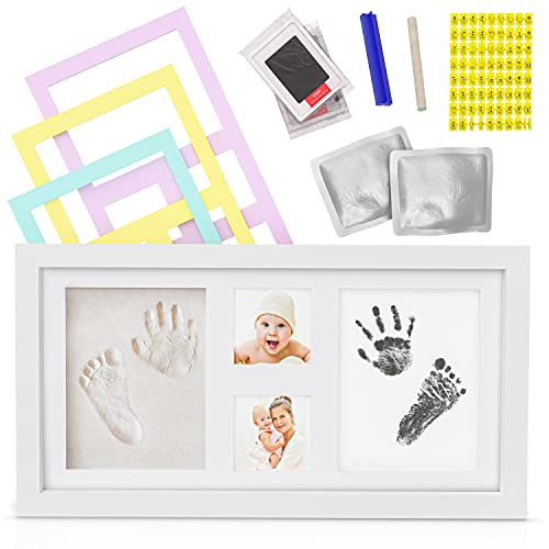 Baby Hand and Footprint Kit - Newborn Keepsakes for Baby Boys and Girls - Non-Toxic Ink and Clay Kit with White Photo Frame, for Baby Shower, Baby Registry and Nursery Decor.