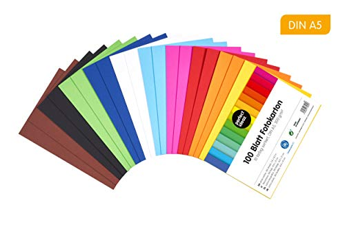 perfect ideaz cartoncino per foto, 100 fogli colorati in formato A5, colorazione integrale, disponibili in 10 diversi colori, spessore 300g/m², fogli di alta qualità