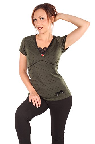 SugarShock Damen Polka DOTS Rockabilly T-Shirt 140085117 Oliv S