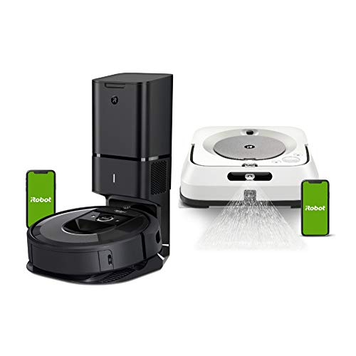 iRobot Roomba i7+ Wi-Fi Connected Robot Vacuum with Automatic Dirt Disposal and Braava Jet m6 Robot Mop Bundle (2 Items)