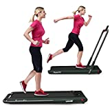 GYMAX Folding Treadmill, 2 in 1 Under Desk Electric Running Machine with Bluetooth & LED Screen, Portable Walking Machine for Home, Office, Gym (Green)
