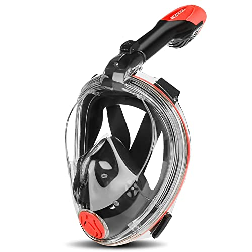 Orsen Full Face Snorkel Mask Foldable, Quick Release System, Anti-Fog & Waterproof, 180° Panoramic View, Free Breathing, Snorkel Mask for Adults & Kids with Detachable Camera Mount
