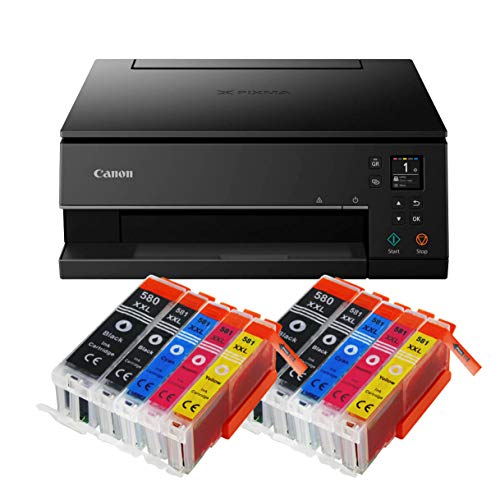 Canon Pixma TS6350 TS-6350 All-in-One 3-in-1 Farbtintenstrahl-Multifunktionsgerät (Drucker, Scanner, Kopierer, USB, WLAN, Apple AirPrint) Schwarz + 10er Set IC-Office XXL Tintenpatronen