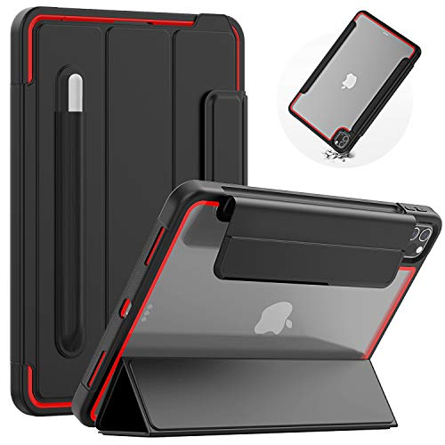 SEYMAC iPad Case Pro 11 Inch 2020/2018, Slim Rugged Drop Proof Cover with Robust Foldable Stand, Clear Black, Automatic Wake/Sleep Magnetic Smart Cover with Pencil Holder for iPad Pro 11 for Kids, Red