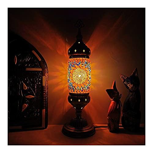 Lámpara De Mesa Exótica Retro, Luz De Noche De Cristal De Mosaico Turco Romántico, para Dormitorio. E14 LED Lámpara De Escritorio Decorativa (Color : Orange)