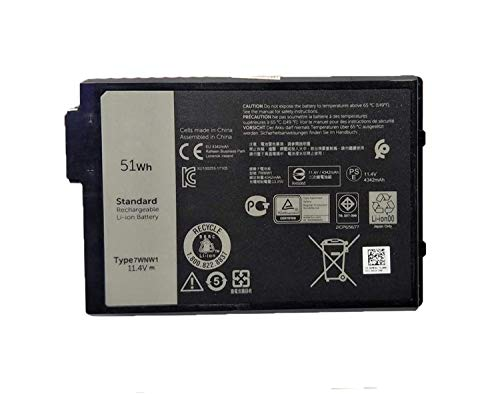 Onlyguo 11.4V 51Wh 4342mAh 7WNW1 DMF8C 0DMF8C Laptop Battery Replacement for Dell Latitude 7424 5424 5420 Rugged Extreme Series Notebook