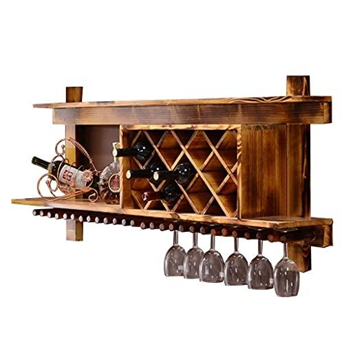Alqn Estante de Madera para Alenamiento de Vino, Estante para Vino Montado en la Pared, Estante de Exhibición para Botellas de Vino para Cocina, Comedor, Bar, Decoración de Cocina para el Hogar,Color