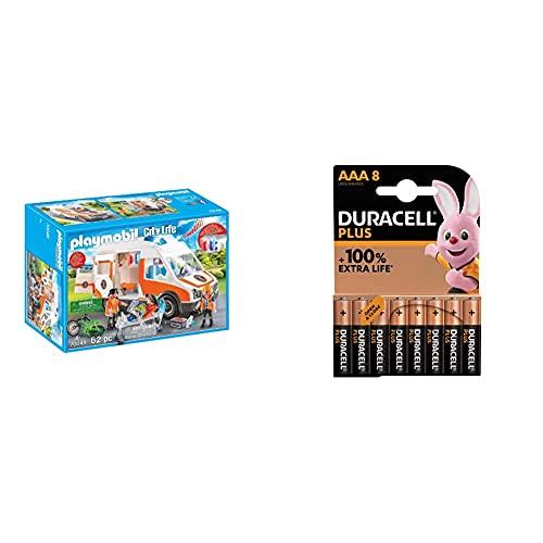 Playmobil City Life 70049 Ambulanza con Lampeggianti e Sirena, dai 4 Anni + Duracell LR03 MN2400 Plus AAA, Batterie Ministilo Alcaline, Confezione da 8, 1.5 V