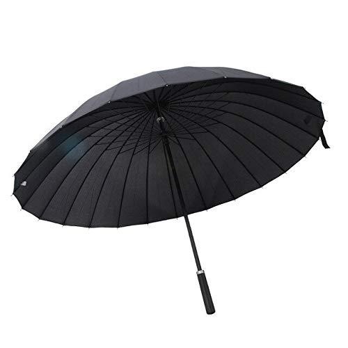 MAWA Paraguas de Palo Grande Mango Recto 24 Varillas Paraguas de Lluvia Unisex A Prueba de Viento - Negro