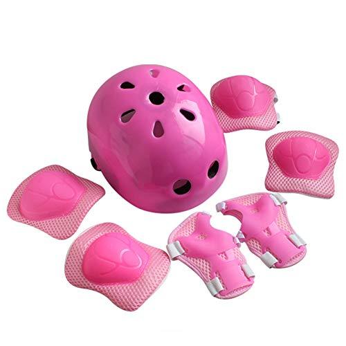Phoetya - Juego de equipo de protección para casco de bicicleta para niños, 7 piezas, kits de deportes al aire libre, rodilleras, coderas, muñequeras para niños de 3 a 12 años, niñas