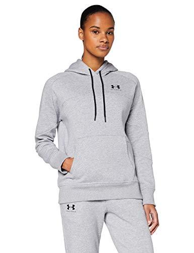 Under Armour Rival Fleece Color block Hoodie Sudadera Con Capucha, Sudadera De Mujer Con Bolsillo Mujer Gris (Gray) XL