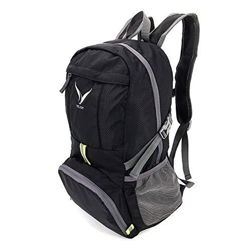 VEJOY Ultra Lightweight Foldable Travel Hiking Backpack, Water Resistant Packable Rucksack Daypack 35L for Men & Women Outdoor Activities (Black)