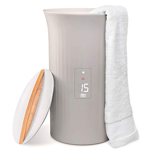 "Live Fine Towel Warmer | Large Bucket Style Luxury Heater with LED Display, Adjustable Timer, Auto Shut-Off | Fits Up to Two 40"" x 70"" Oversized Bath Sheet Towels"