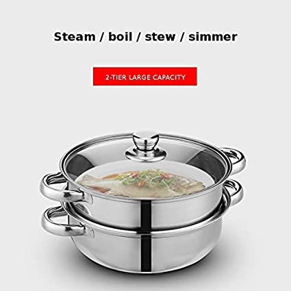 Stainless Steel 2 Layer Thick Steamer Pot Soup Steam Pot Universal Cooking Pots for Induction Cooker Gas Stove Hotpot Steam Pot Color : 2 Layer 4 Ear
