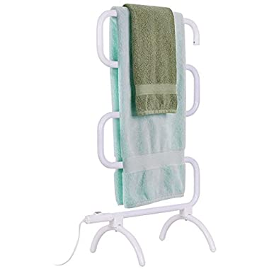 TANGKULA 5-Bar Bath Towel Warmer Free Standing & Wall Mounted 36  Towel Heater for Home Bathroom Stable Metal Frame Space Saving Towel Hanger 100W Portable Drying Rack