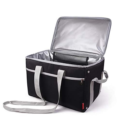 Genliloor Kühltasche 30L Picknicktasche Faltbar Kühlbox - Isoliertasche Kühlkorb für Lebensmitteltransport für Sport, Picknick, Büro, Auto oder Urlaub Schwarz 1 STK