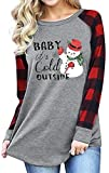 Baby Its Cold Outside Christmas T Shirt Women Plaid Splicing Snowman Blouse Tops Xmas Gift Gray