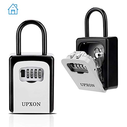 Key Lock Box, Key Storage Box with Resettable Code, 4 Digit Combination Lock Box, Weatherproof Wall Mount Key Lock Box 1 Pack