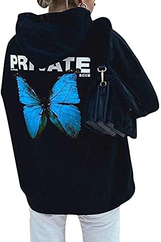 Tomwell Damen Schmetterling Druck Kapuzenpullover Langarm Pullover Pulli Hoodie Sweatshirt mit Kapuze Tasche Sweater Jacke, Mantel Kapuzenpullover mit Tasche A Blau XL