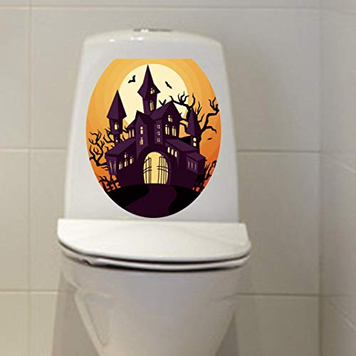 Makaor Hallowmas Toilet Seat Wall Sticker Decals Vinyl Art Wallpaper Removable for Home Bathroom Toilet (A, Size: 33X28 cm)