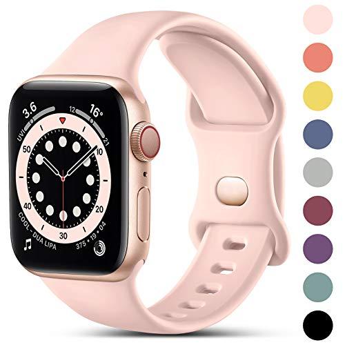 CeMiKa Compatible avec Apple Watch Bracelet 38mm 42mm 40mm 44mm, Bracelets en Silicone de Remplacement Compatible avec iWatch Se Series 6 5 4 3 2 1, 38mm/40mm-S/M, Rose