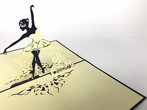 Biglietto d'auguri con ballerina pop up fatta a mano, per compleanno, matrimonio, ringraziamento, buona fortuna, Pasqua, San Valentino, congratulazioni