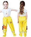 TURMIN 3D Carino Pantaloni Impermeabili Bambino, Pantaloni Pioggia Bambini Pantaloni Antipioggia Pantaloni Leggeri da Fango Impermeabili da Bambina per Ragazzi Ragazze 2-12 Anni-Giallo-S