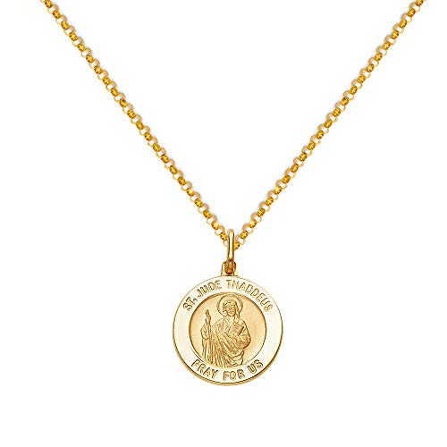 Oro giallo 14K Tgdj Religious San Giuda Taddeo medaglia ciondolo con catena cavo 1.6mm e Oro giallo, cod. TGDJ-PT279/CH226-N-Y-18