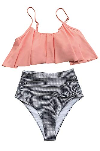 CUPSHE Women's High Waisted Falbala Bikini Set Pink Orange