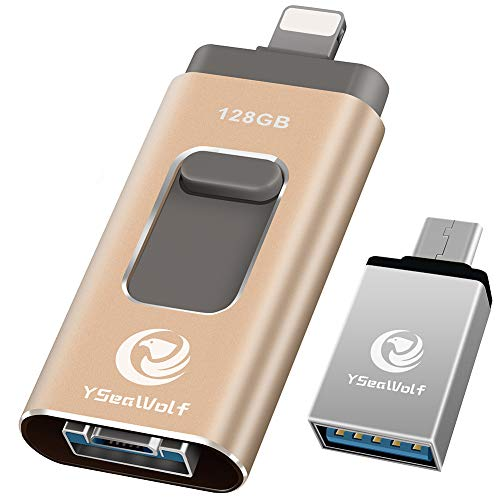 iPhone Flash Drive for iPhone 128GB USB Flash Drive Tpye c Flash Drive 3.0 YSeaWolf photostick Mobile for iPhone External Storage, Tpye c, Android, PC iPhone Picture Stick iPhone Memory Stick (Gold)