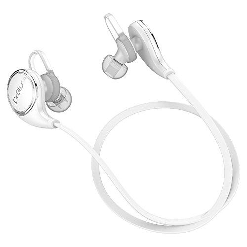 drblu Pro Sport Stereo sweatproof écouteurs V4.1Wireless Bluetooth Headset Earbuds avec HQ Bass APT-X et Mic intégré pour iPhone 567et téléphone Android (Blanc)