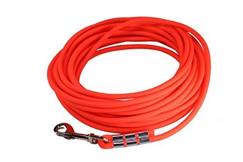 LENNIE Easycare Schleppleine 6 mm RUND, 5-15 Meter (10 m), Neon-Orange, ohne Handschlaufe (wasserfest & pflegeleicht durch PVC-Ummantelung)