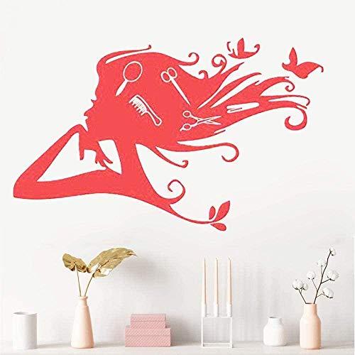 Beauty Salon Scissors Scissors Comb Vinyl Wall Sticker Hairdresser Removable Window Beauty Decoration 36x57cm