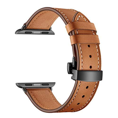 Correa de reloj de cuero para Apple Watch 6 5 4 3 2 1 SE Band Pulsera con hebilla de mariposa para IWatch 44mm 40mm 42mm 38mm Bandas-Marrón, 40mm y 38mm