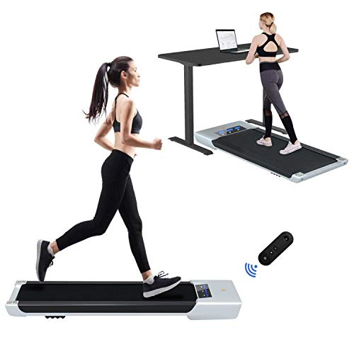 VIVITORY Under Desk Electric Treadmill, Walking Jogging Flat for Home, 2.25HP Walking Running Machine, Remote Control and LED Display, Portable Treadmill for Home/Office Cardio Fitness (Silver)