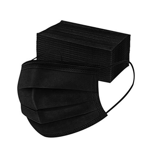 Disposable 3ply Face Mask Elastic Earloop Mouth Face Cover Masks ,Anti-spittle,Protective Dust(Black,50pcs)
