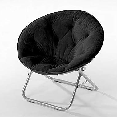 Urban Shop Super Soft Faux Fur Saucer Chair With Folding Metal Frame, Black