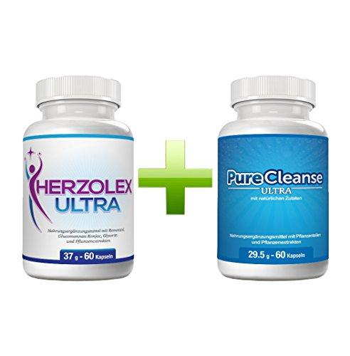 Herzolex Ultra & Purecleanse Ultra Doppelpaket   Extra schnelle Gewichtsabnahme und Entschlackung mit diesem Kombi-Paket  