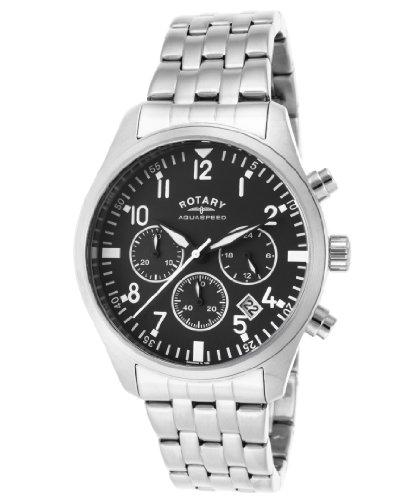 Rotary Men's Chronograph Silver-Tone Steel Black Dial