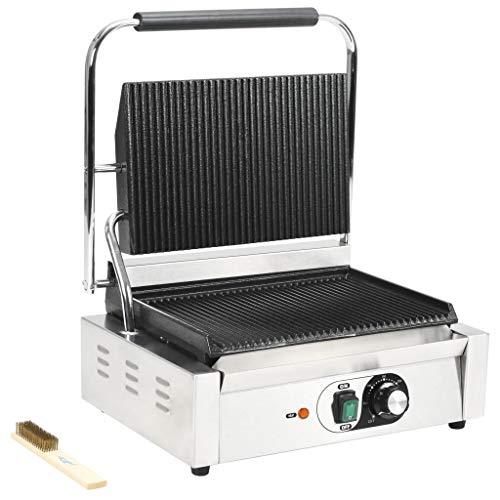 Festnight Griglia Scanalata per Panini e Sandwich Professionale Elettrica in Acciaio Inox 1800W/2200W 32x41x19cm